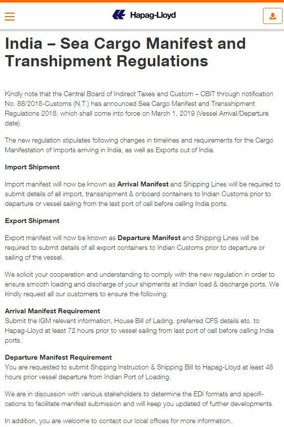 What?Indian New Regulation of Cargo Manifest & Transhipment